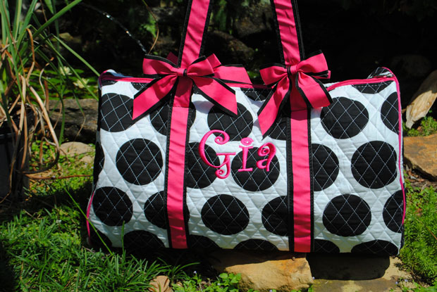 Quilted Overnight Duffle Bag- Lollipop Drops-Signature Stitch Monogrammed Duffle Bag for girls Lolipop drop, monogrammed duffle bag