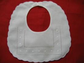 Baby Bib- Linen Swiss Dot-Monogrammed Linen Baby Bib