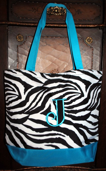 Zebra Stripe Beach Bag 03Z-Monogrammed Zebra Beach Bag, Shopping tote/book bag