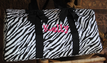 Quilted Overnight Duffle Bag- Patterns-Signature Stitch Monogrammed Duffle Bag for girls, pink camo, gingham, zebra print, houndstooth,